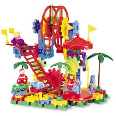 Kids can spend whole days at the amusement park with this 120-piece motorized set. Includes a handheld motor, carousel, Ferris wheel, bumper cars, roller coaster, play figures and enough colorful, spinning gears to make everything come to life. Encourages creativity and mechanical reasoning and builds motor skills.