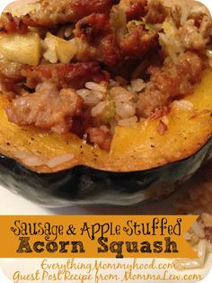 Sausage & Apple Stuffed Acorn Squash Recipe from @mommalewsblog