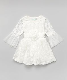 This White Lace Bell-Sleeve Dress - Infant, Toddler & Girls by Ruffles by Tutu AND Lulu is perfect! #zulilyfinds