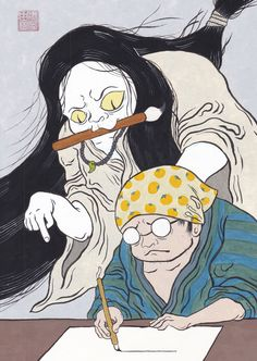 #art #illustration #japan #cat #Watercolor #youkai #Ghost #猫 #イラスト #日本画 Japan Cat, Watercolor, Cats, Illustration, Anime, Pen And Wash, Watercolor Painting, Gatos, Watercolour
