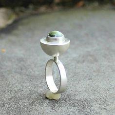 Tiger Eye Ring - Green Tiger Eye Silver Ring - Big Green Gem Ring - Hollow Form Sterling Ring - Tiger Eye Cabochon Ring - Modern Silver US 8