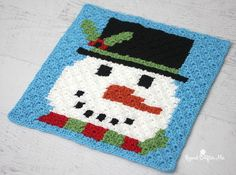 Frosty the snowman was a jolly happy soul! And he is square number 3 of my Crochet Christmas Character Afghan! If you are just joining in to this impromptu Crochet-along, that is ok! You aren't far be
