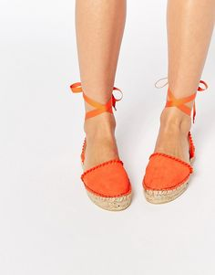 the bright pop and fun grosgrain straps make these Miss KG Pom Pom Espadrilles the perfect