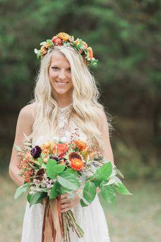 Bohemian Wedding Inspiration, Boho Bride, Flower Crown, Fall Wedding, Bouquet, Nashville Wedding, Dyanna LaMora Photography, Boho Wedding Dress