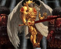 Primarch Sanguinius of the Blood Angels Legion and his loyal Sanguinary Guard