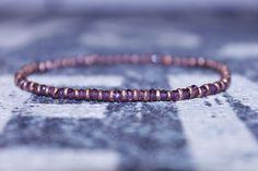 Men's bracelet, Beaded bracelet, Armband, Garnet mens bracelet (3 mm Ethiopian copper spacers/2,5 mm faceted GARNET stone) by DESERTDUSTMEN on Etsy