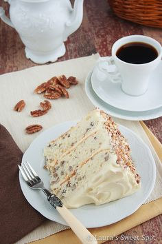 "Toasted Butter Pecan Cake  ~  What gives this cake that signature ""Butter Pecan"" flavor is toasting the pecans in a skillet with some melted butter. It smells AMAZING! Just like the ice cream."