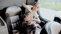 Maddie doing Paige's hair