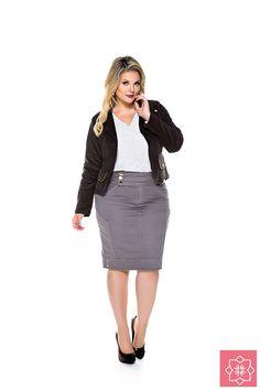 Saia Recorte Cinza Nítido Jeans #viaevangelica #nitidojeans #modaevangelica #modafeminina