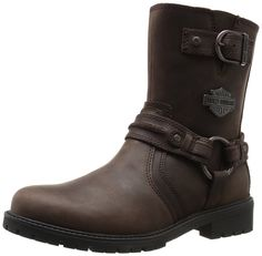 Harley-davidson Men's Abner Harness Boot: The men's abner boot by Harley-Davidson footwear is a classic 8 inch Mens Biker Boots, Biker Wear, Bike Boots, Motorcycle Boots, Boots Cuir, Leather Boots, Mens Fashion Wear, Fashion Boots, Botas Harley Davidson