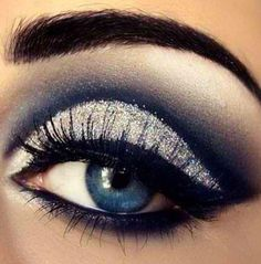 Blue And Silver Make Up Blue Eye. Chey: Use light colors to make eyes look bigger. This is perfect considering the colors are blue and white. :)