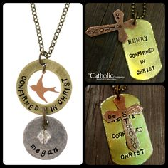 NEW! More of our latest personalized designs, hand-stamped Confirmation necklaces for girl & boy. #CatholicCompany