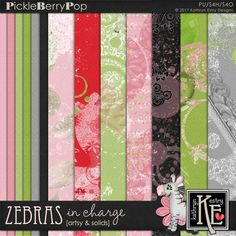 Zebras in Charge Artsy Papers and Cardstock :: Coordinates with the entire Zebras In Charge Digital Scrapbooking Collection by Kathryn Estry @ PickleberryPop $3.99