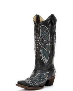 Women's Black-Turquoise Wing & Cross With Studs & Crystals Boot - $301