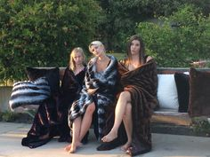 Our Faux Fur blankets, modeled to perfection by these lovely ladies. Everyday essentials for everyday luxury. KVH by Kelly Van Halen.