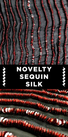 Red Novelty Sequin Lines on Black Silk Chiffon