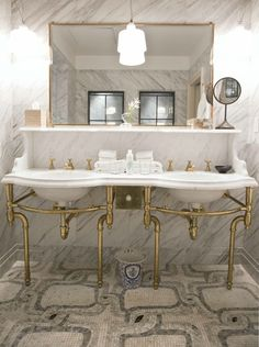 Beautiful Marble Double Vanity Sink with solid brass base, faucets, and plumbing fittings (image by Gerardo Jaconelli, via All The Best Blog)