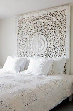 Large White Headboard Or Wall Art Panel, Wall Hanging Decorative From Thailand. Asian Home Decor. Indian Home Decor, Headboards For Beds, King Bed Headboard, White Interior Design, Diy Headboard, Morrocan Bedroom, Rustic Bedroom, White Bedroom Design, Asian Home Decor