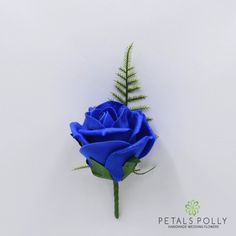 Royal Blue Single Foam Rose Buttonhole
