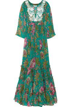 Corinthian embroidered printed silk-chiffon maxi dress  #green #silk #dress #embroidered