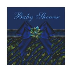Elegant blue peacock animal print Baby Shower invitations. Decorated both sides. Easy to personalize. $1.95