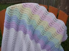 Crochet blanket, crochet baby blanket, rainbow afghan lapghan, decorative throw blanket, pastel coloured rainbow ripple and white crochet by HookersPalace on Etsy https://www.etsy.com/listing/232884190/crochet-blanket-crochet-baby-blanket