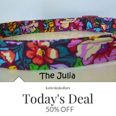 "Today Only! 50% OFF this item.  Follow us on Pinterest to be the first to see our exciting Daily Deals. Today's Product: Sale - 50% Off Floral Dog Collar - Beautiful Multi Floral Dog Collar ""Julia"" - Free Colored Buckles Buy now: https://www.etsy.com/listing/288577391?utm_source=Pinterest&utm_medium=Orangetwig_Marketing&utm_campaign=January"