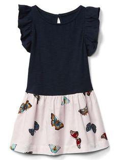 Double-layer flutter keyhole dress