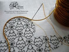 couching gold cord - blackwork embroidery - black sparkly thread instead of just plain black Motifs Blackwork, Blackwork Cross Stitch, Blackwork Embroidery, Folk Embroidery, Embroidery Transfers, Cross Stitch Embroidery, Embroidery Patterns, Cross Stitches, Stitch Patterns