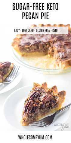 This keto pecan pie recipe is the only one you'll ever need for the best sugar-free pecan pie ever! Easy to make and just like the real thing. Low Carb Sweets, Low Carb Desserts, Low Carb Recipes, Dessert Recipes, Dessert Ideas, Recipe For Sugar Free Desserts, Paleo Dessert, Sugar Free Recipes Stevia, Keto Apple Recipes