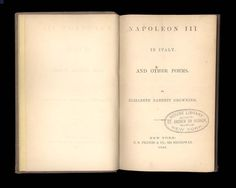 "The title page of this copy of Elizabeth Barrett Browning's ""Napoleon in Italy"" has the stamp of a now-defunct seminary."