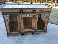 Farmhouse Style single dog kennel by Kennel and Crate! Barn door rollin' door that can remain wide opened for those that don't like to close up their pets!  We build pieces of furniture for your dog...not just a wooden crate with rebar.  Our are rolled steel with custom selected wood grain, distressed or raw finish!  Check out all of our work in our website!  Create yours today with us!  Perfect for tv stand, entry table, kitchen island or mudroom table...what will you use for?