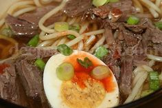 Yak a Mein, New Orleans Old Sober Soup is most often made from beef, always includes boiled eggs, and is offered with condiments of soy sauce, hot sauce, Worcestershire sauce, and ketchup.