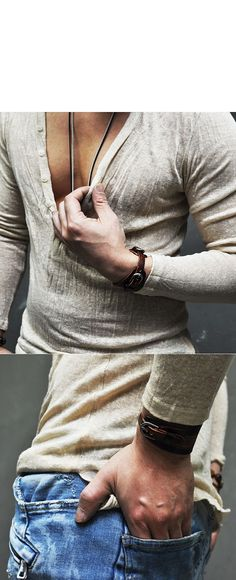 Tops :: Knits :: 5 Color Holiday Linen Wrinkle Button Sexy Deep V-Knit 103 - Mens Fashion Clothing For An Attractive Guy Look