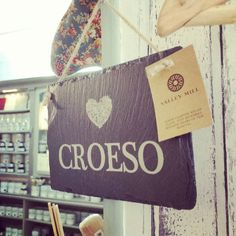 CROESO Welsh slate sign available at the shop!