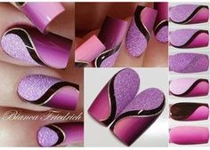 Beautiful nail art designs that are just too cute to resist. It's time to try out something new with your nail art. Purple Nail Art, Pink Nails, Glitter Nails, Purple Glitter, Fancy Nails, Trendy Nails, Super Nails, Cool Nail Designs, Art Designs