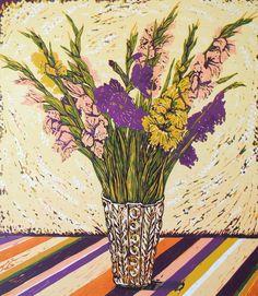 """Gladioli in a Vase"" linocut by Louise Stebbing"