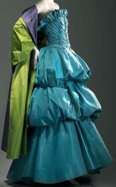 Arnold Scaasi - Robe de Soirée Bustier et  Manteau - Plissée Froncée - Turquoise, Vert Anis et Mauve - 1982