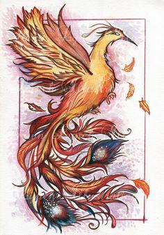 Gorgeous Original fantasy art by Dawn Lynch Phoenix Watercolour Acrylic & Pencil