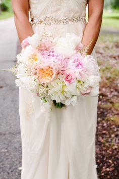 Pink peony bouquet: http://www.stylemepretty.com/2014/11/19/rustic-summer-wedding-at-magnolia-plantation/ | Photography: Riverland Studios - http://riverlandstudios.com/
