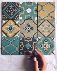 Ceramic Tile Art, Ceramic Painting, Tile Patterns, Print Patterns, Blue Wall Decor, Art Nouveau Tiles, Geometric Graphic, Wall Ornaments, Art N Craft