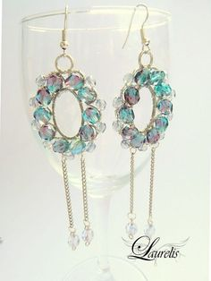 Violetblue glass earrings  silver plated by Laurelisbijoux on Etsy, $19.90