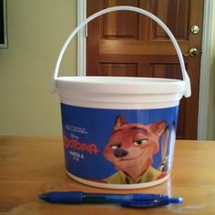 Disney El Capitan Theatre Zootopia Popcorn Bucket 1 of 3 buckets, used,  cleaned.   ? NO Trades Disney  Other