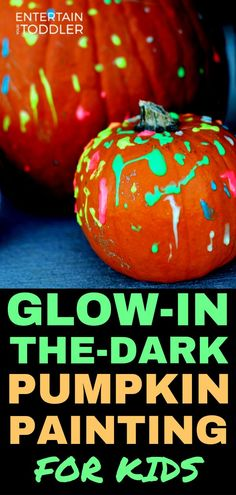 Looking for a fun fall activity this year? Try this mess-free, glow-in-the-dark pumpkin painting activity! It was a huge hit in our home as our toddler loved decorating the pumpkin as well as taking it into her closet to watch it glow! Best Paint For Pumpkins, Painted Pumpkins, Halloween Art Projects, Halloween Arts And Crafts, No Carve Pumpkin Decorating, Pumpkin Carving, Pumpkin Painting Party, Homemade Paint, Halloween Activities For Kids