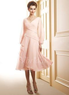 Mother of the Bride Dresses - $144.06 - A-Line/Princess V-neck Tea-Length Chiffon Mother of the Bride Dress With Ruffle Beading Cascading Ruffles (0085093852)