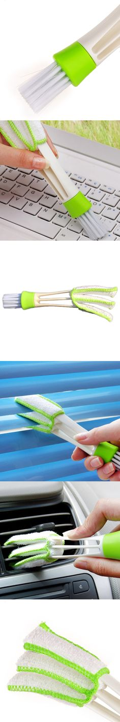 1Pcs Car DIY New Plastic Car Air Conditioning Vent Blinds Cleaning Brush For Series Part Accessories Green Color 2*3.3*4*16.5cm