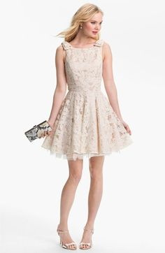 Way-In Lace Overlay Skater Dress (Juniors) available at #Nordstrom-perfect for my Wedding After Party