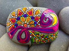 Harvest Moon / painted rock / Sandi Pike por LoveFromCapeCod