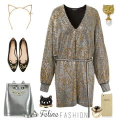"""Feline Fashion"" by yours-styling-best-friend ❤ liked on Polyvore featuring Balmain, Kate Spade, Tasha, Charlotte Olympia, Betsey Johnson and Moritz Glik"