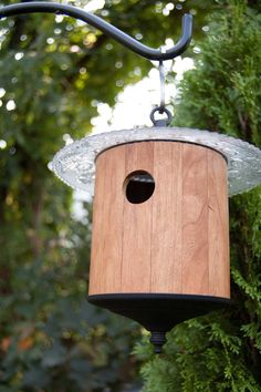 Wood Round Birdhouse (Light Brown) Reclaimed Pallet, Outdoor Birdhouse,  Functional Birdhouse,
